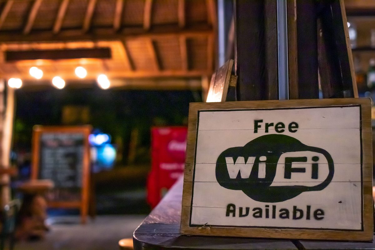 free wifi sign on coffee table