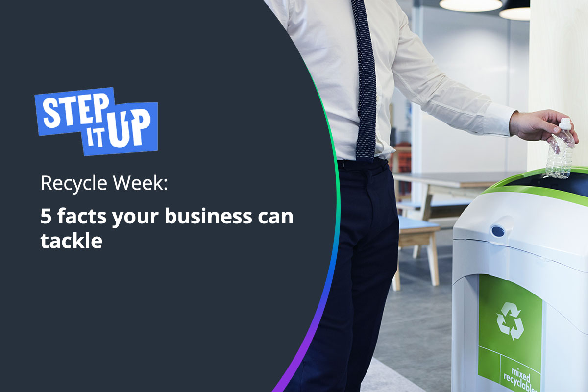 Businessman placing bottle into recycle bin