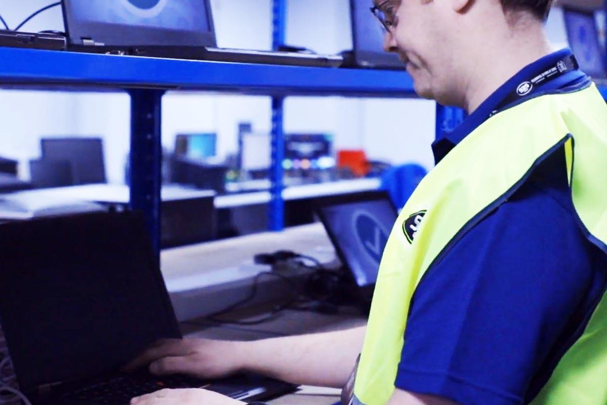 Technician erasing IT asset data securely
