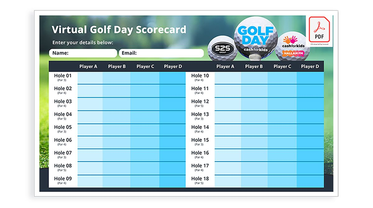 Virtual Golf Day scorecard