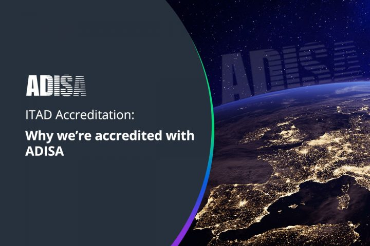 ADISA logo with space view of earth with lights