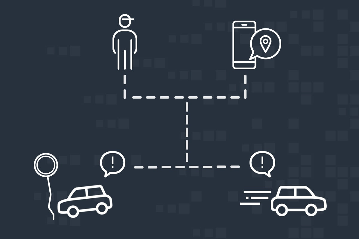 Infographic of how cars send signals when they are stolen or break down.