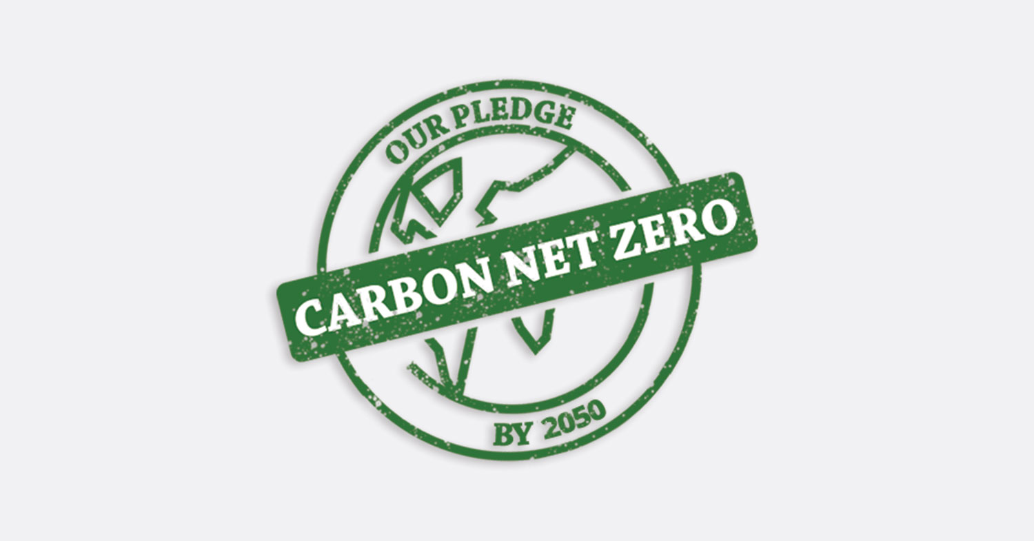 Our pledge carbon net zero by 2050 stamp