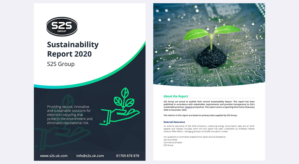 cover and first page of sustainability report 2020